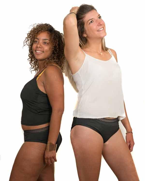 Culotte menstruelle Solinéa portée par 2 modèles